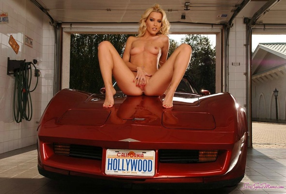 Naked girl on corvette