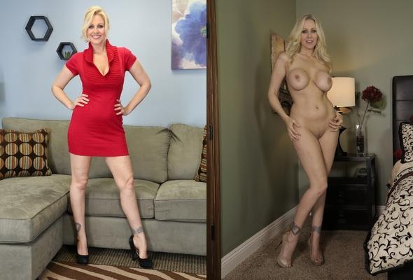 Milf undressed blonde dressed