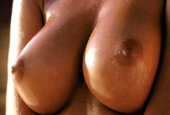 Closeup wet breasts