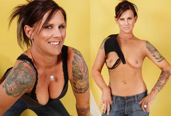 Mature women bra dressed undressed