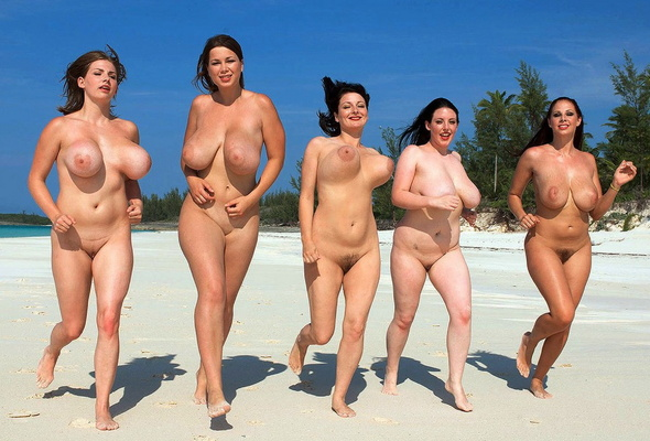 Big tits naked on beach