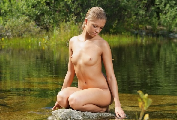 pond Nude girl in
