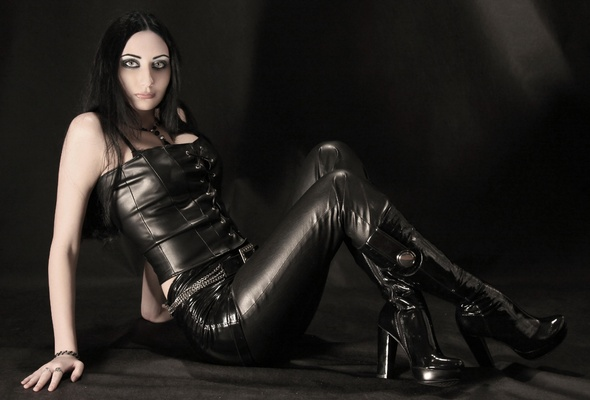 Naked gothic boot control fetish