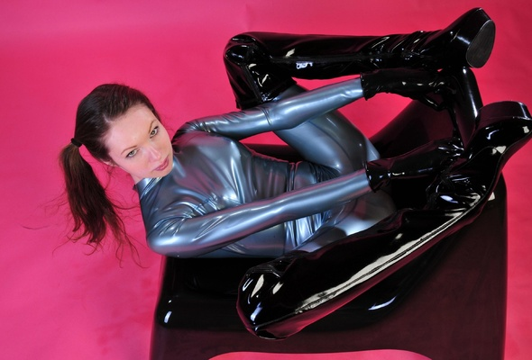 Dark haired housewife Erin Marxxx undresses for nude poses in latex gloves  1790602