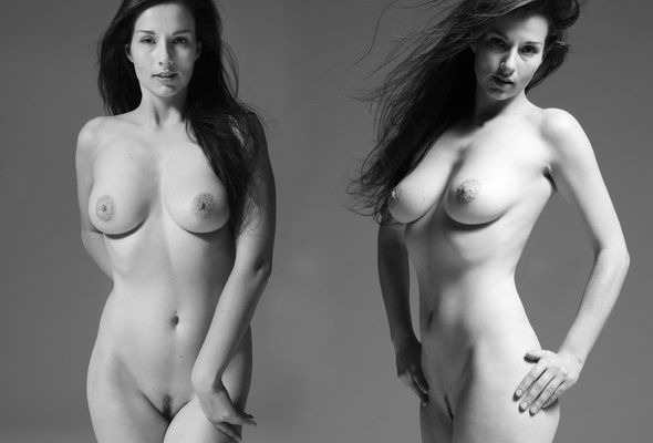 Black and white nude boobs