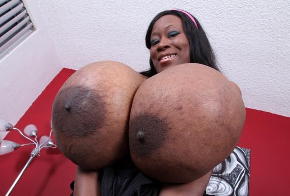 Ebony huge tits areola