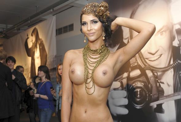 Nude model public