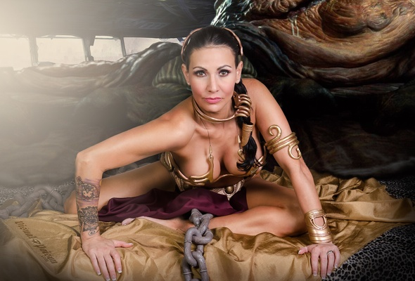 young, brunette, amateur, tattoo, model, slim, sexy babe, long hair, posing, smile, sexy dressed, cosplay, princess leia, leia organa, sexy, decollete, hazel eyes, erotic, fantasy, hi-q, :)