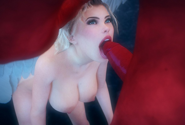 Nude blonde blowjob art