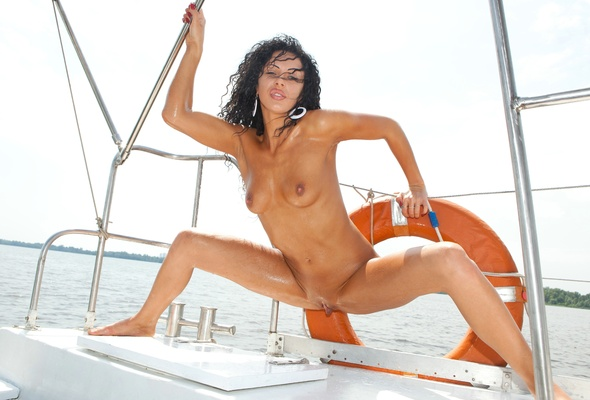 in boat babe a video Sexy