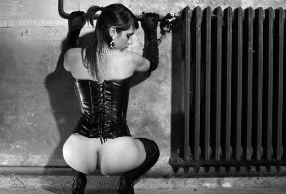 Naked girls in black leather, street pussy tease