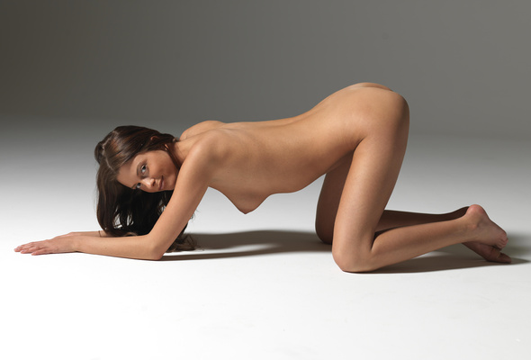 Nude women on hands and knees
