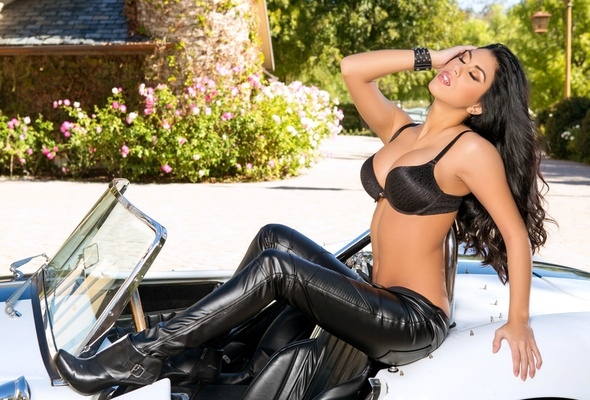 Tit brunette lingerie big leather