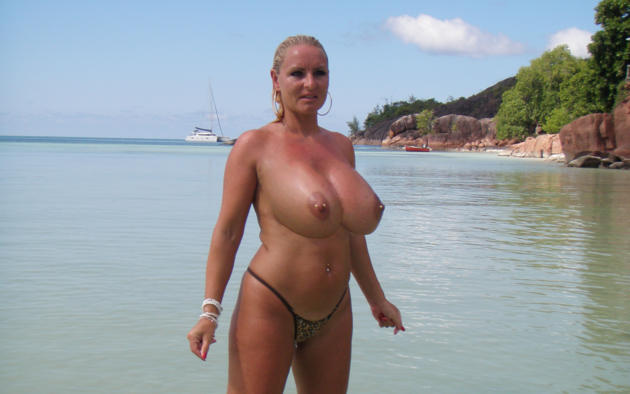 Milf with huge nipples on beach