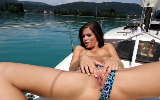 boat Naked on milf spreading