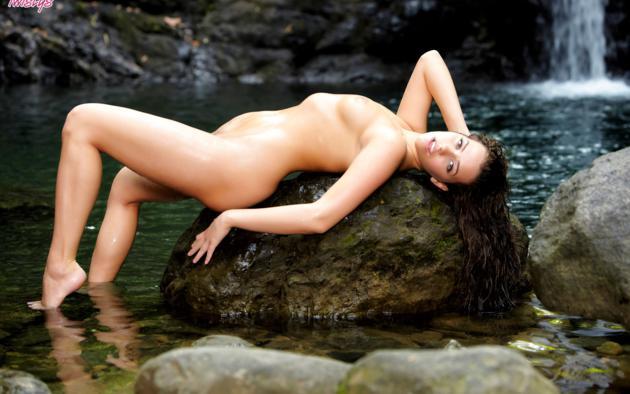 Mia Malkova Brunette Porn - mia malkova, brunette, porn star, outdoors, waterfall, nude model, wet