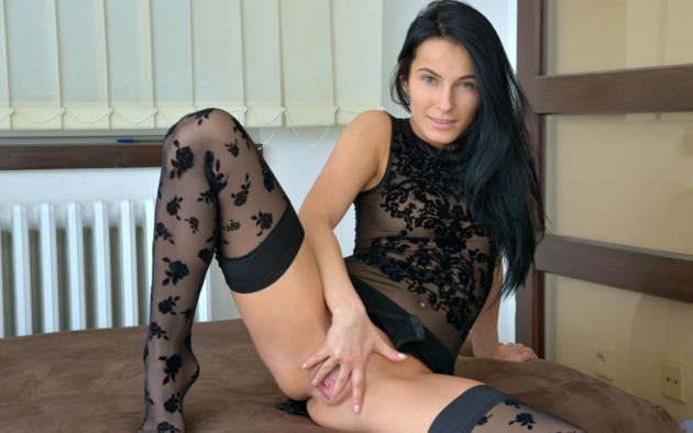 Quite nylons spread pussy are