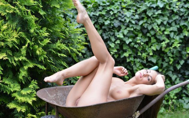 naked girl in wheelbarrow