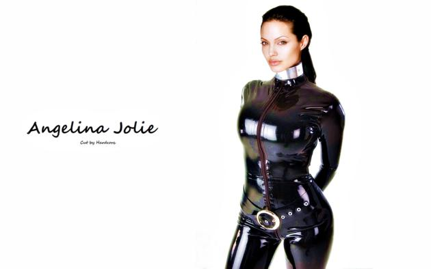 angelina jolie, american, brunette, hollywood, actress, fake, sexy babe, tight clothes, latex, catsuit, fullsuit, rubber, fetish, minimalist wall, own cut, unknown faker, celebrity fake, fetish babe, widescreen cut