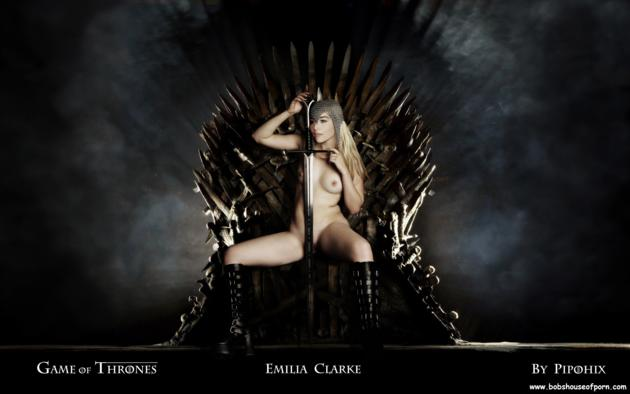 emilia clarke, fake, throne, boobs, tits, iron throne, nude, sword, celebrity fake