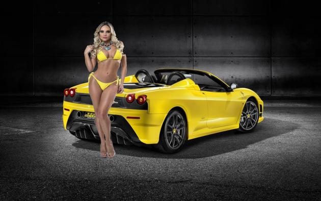 ferrari, yellow, model, bikini, 2009 ferrari 430 scuderia spider 16m, bad quality