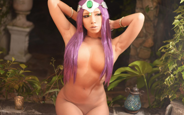 princess bubblegum, adventure time, cosplay, naked, purple hair