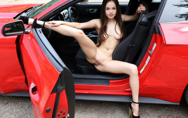 li moon, kiki, lee moon, annika a, brunette, red, mustang, naked, petite, pink nipples, shaved pussy, labia, spread legs, high heels, ultra hi-q, tits