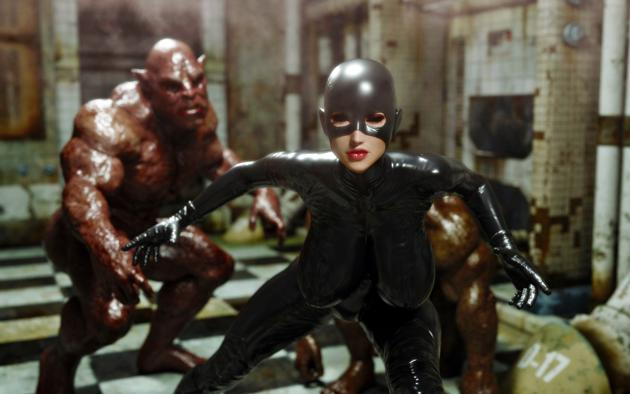 brunette, 3d, fetish babe, big tits, masked, shiny clothes, pvc, catsuit, latex, hood, gloves, virtual, fighting, monsters, jaredd999 picture, 3d latex, monster eater