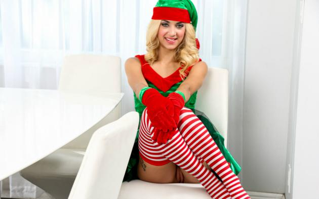 xmas elf, uma jolie, belicia, blonde, no panties, shaved pussy, labia, smile, pussy, stockings, christmas