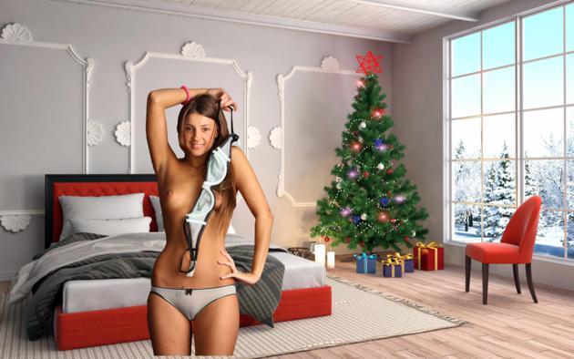 maria ryabushkina, maria, tara, melena, maria rya, auburn, lingerie, bra, panties, topless, cameltoe, tits, nipples, tanned, christmas, christmas tree, bedroom, smile, presents, perfect xmas present, hi-q