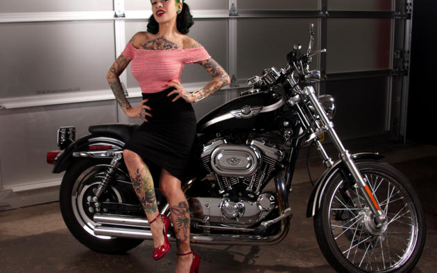 suicide girls, tattoo, black hair, motorcycle, harley davidson chopper, pin-up, harley davidson