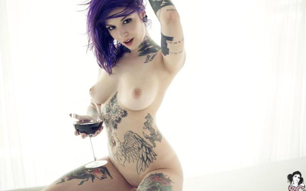 suicide girls, katherine, rebecca crow, tattoo, boobs, big tits, wine