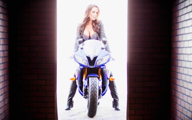 destini dixon, bike, big tits, brunette, beauty, bra, leather