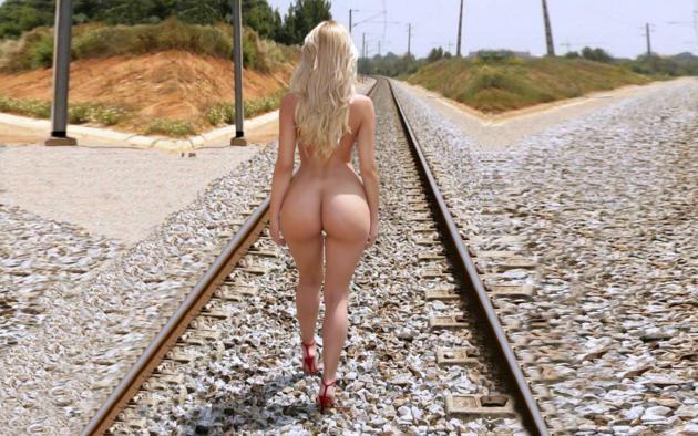 model, blonde, naked, railway tracks, big ass, high heels, railline, ass, rails
