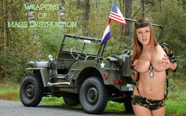 viola bailey, viola, viola paige, vanea h, auburn, topless, big tits, nipples, army jeep, dog tags, weapons of mass destruction, hi-q, perfect tits, jeep, flag