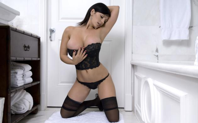 denise milani, model, brunette, amazing, big boobs, huge tits, large breasts, sexy, beautiful, gorgeous, perfect, busty babe, beauty, black hair, enormous boobs, black lingerie, black stockings, lace, corset, bathroom, big breasts, perfect lady, perfect body, stockings, lingerie series, hi-q
