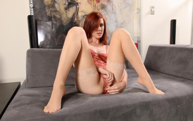 elle alexandra, red hair, sexy girl, lingerie, stockings, sexy legs, pussy, elle alexandria, elle e