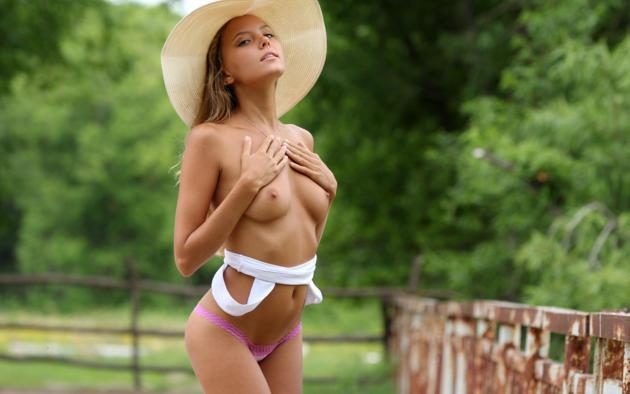katya clover, clover, mango, caramel, auburn, panties, outdoors, topless, small tits, nipples, tanned, hat, hi-q, katyaclover, mango a