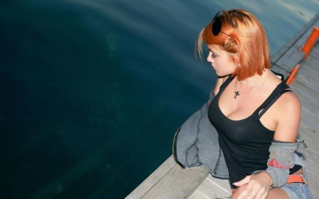 violla a, cute, model, sexy, short hair, redhead, harbor, outdoors, sunglass, beautiful, dina p, myza
