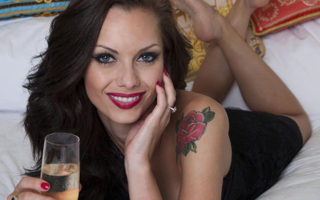 jessica jane clement, brunette, photoshoot, sexy, hot, tattoo, champagne, glass, smile
