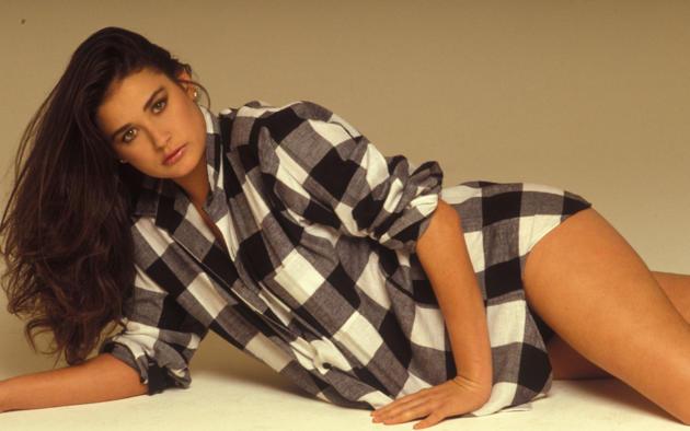 demi moore, checkered, shirt, black hair, brunette