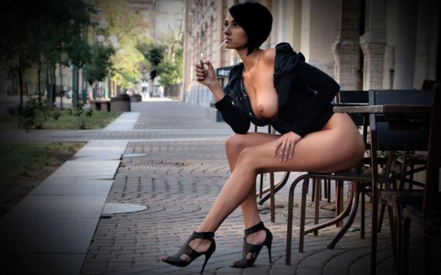 sexy, legs, boobs, tits, public, smoking, cigarette, brunette, high heels, perfect lady, perfect tits, hi-q