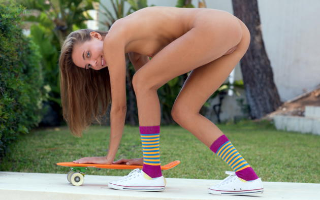 katya clover, clover, mango, caramel, auburn, outdoors, naked, skateboard, small tits, nipples, shaved pussy, labia, ass, socks, running shoes, hi-q, katyaclover, mango a