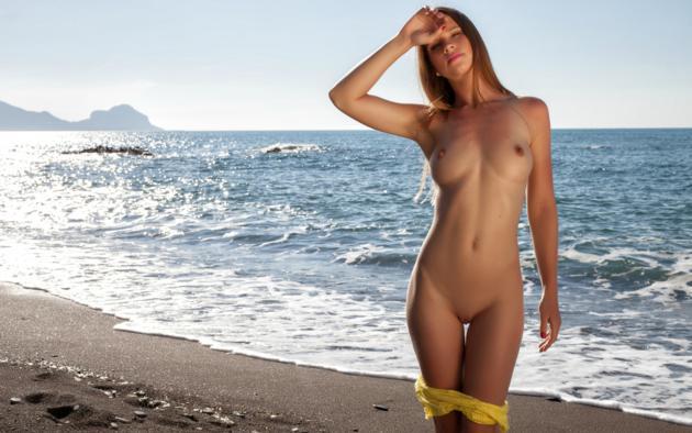 Amanda, Auburn, Beach, Naked, Tits, Hard Nipples, Shaved Pussy,