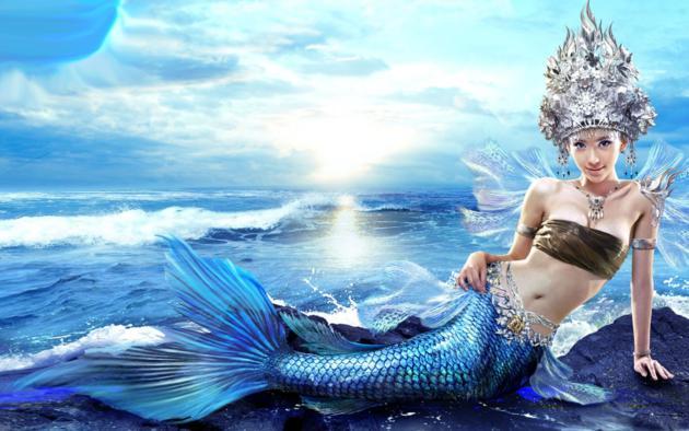 cosplay, mermaid, blue, scales, silver, head, piece
