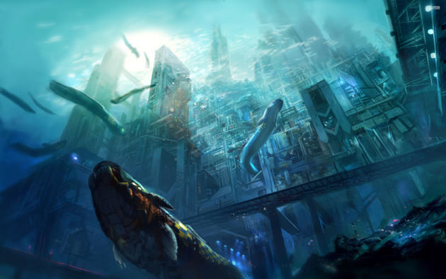 art, under, water, city, large, fish