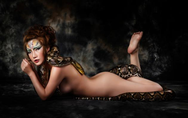 Are naked girl with a snake agree with