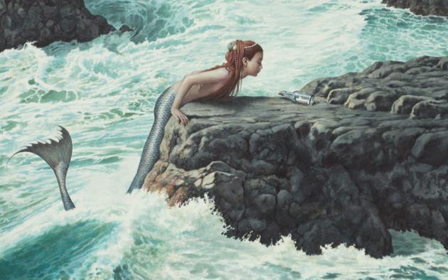 mermaid, sea, rocks, bottle