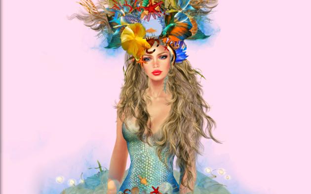 mermaid, blonde, live, crown