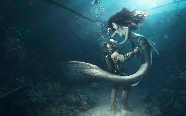 mermaid, siren, redhead, diver